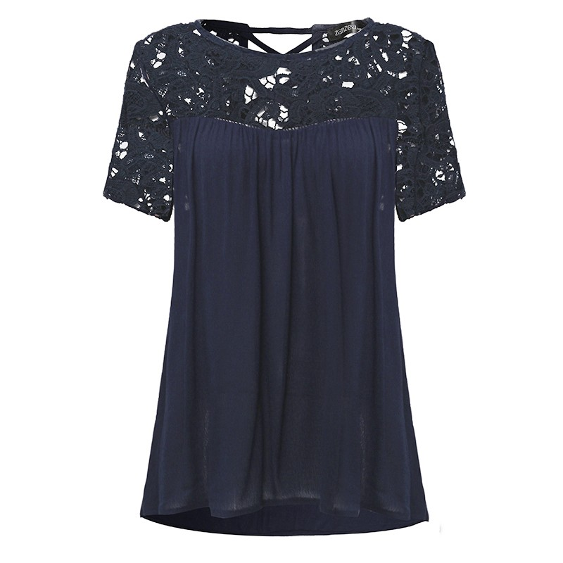 Pregnant Women Blouses Lace Chiffon Splice Shirts 2018 Summer Casual Loose Short Sleeve Solid Tops Pregnancy Clothes Plus Size