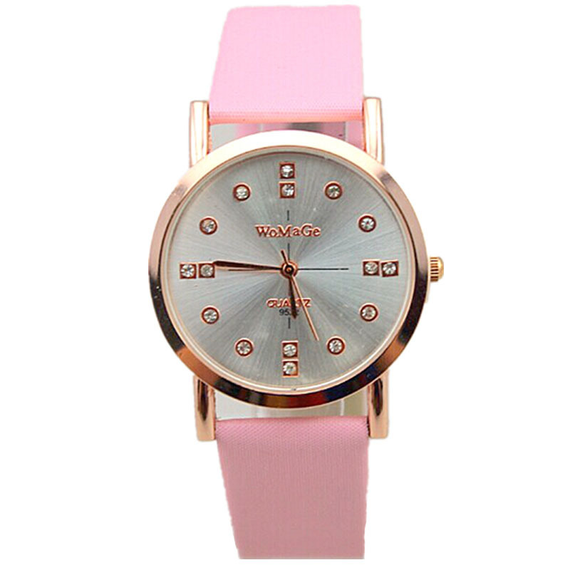 hot sales lady fashion dress watch sunny face crystal time design womage brand leather strap quartz women casual wrist watches