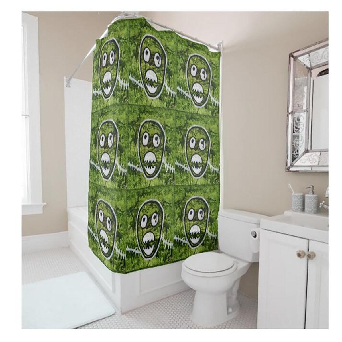 Creative Personalized 9 Cute Skulls Digital Printing Green Shower ...