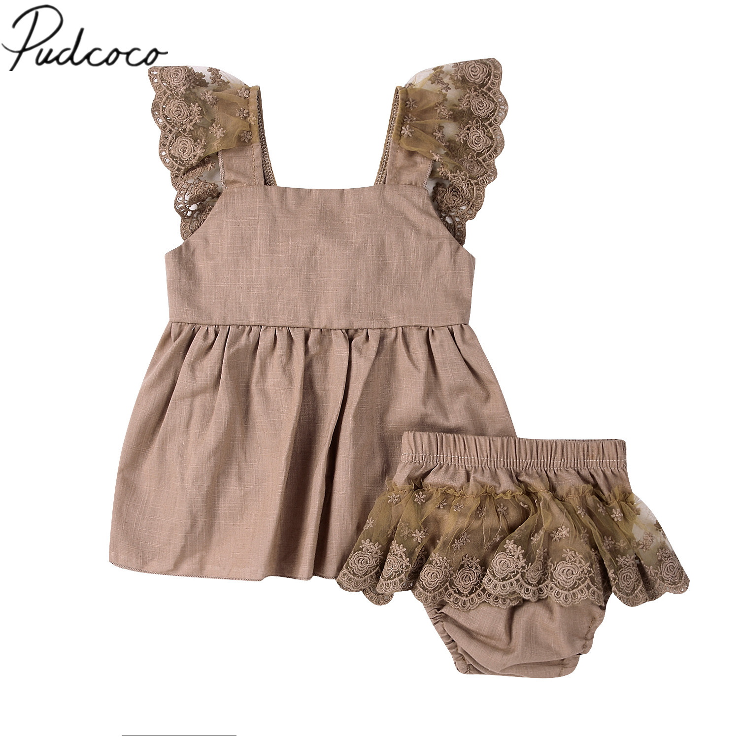 2018 Brand New Toddler Infant Newborn Baby Girls Outfits Clothes Lace Top T-shirt Dress+Pants Bottoms 2Pcs Set Chiffon Clothes