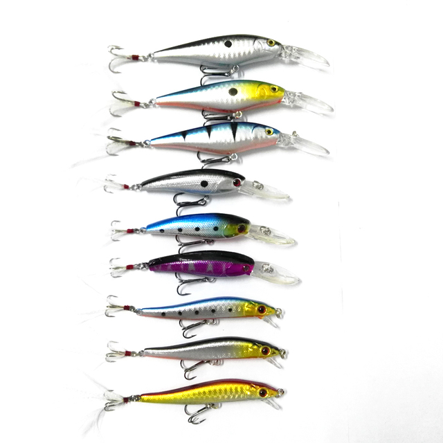 US $8 99 |9PCS 3 Molds Hard Plastic 3D Eyes Feather Hooks Minnow Fishing  Lures Hard Bait Fishing Tackle Jerkbait Swimbait Lures-in Fishing Lures  from