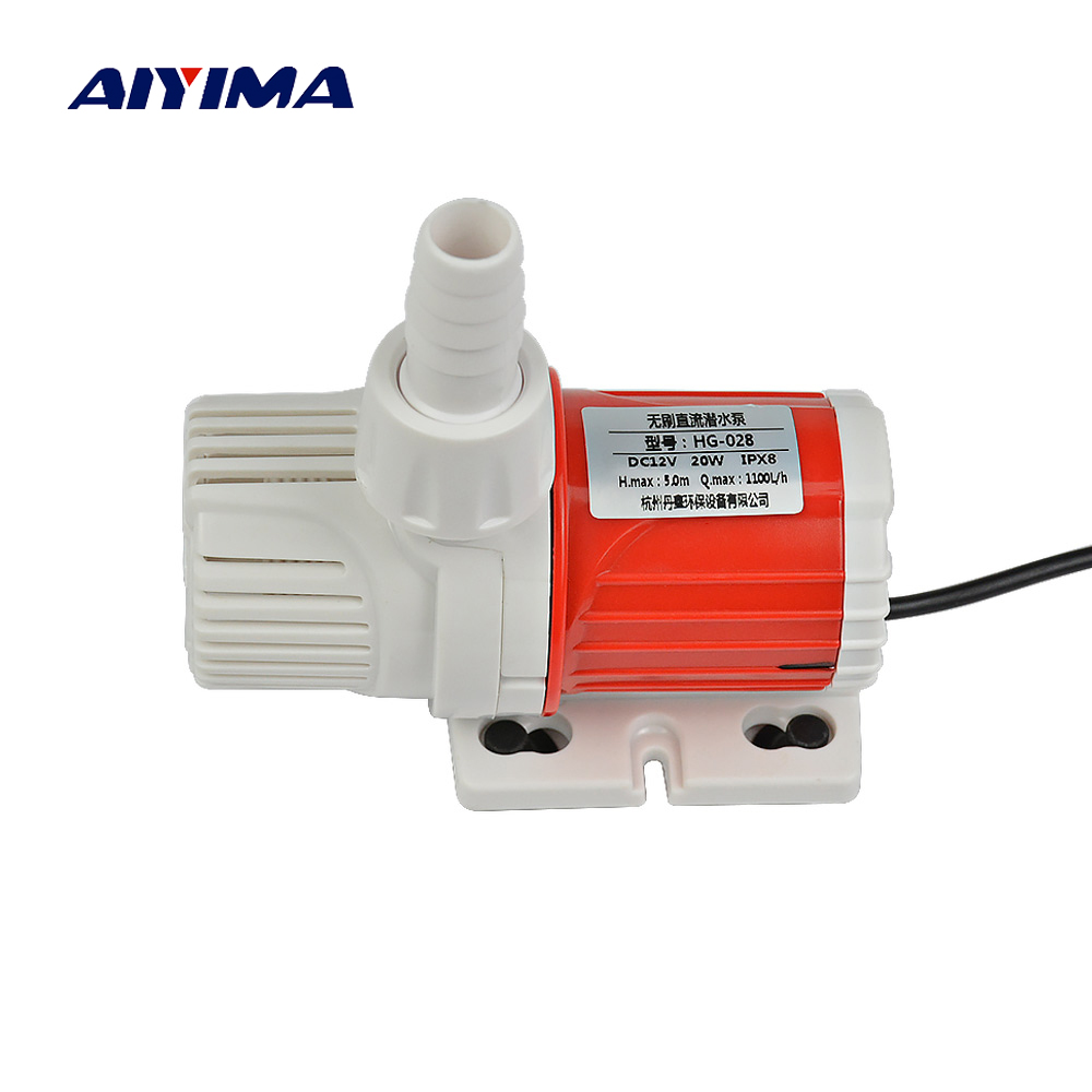 цена на Aiyima Micro Household Brushless DC Water Pumps DC12V 1000L/H Submersible Pump For Fish Tank Rockery Fish Pond Anti-dry Burning