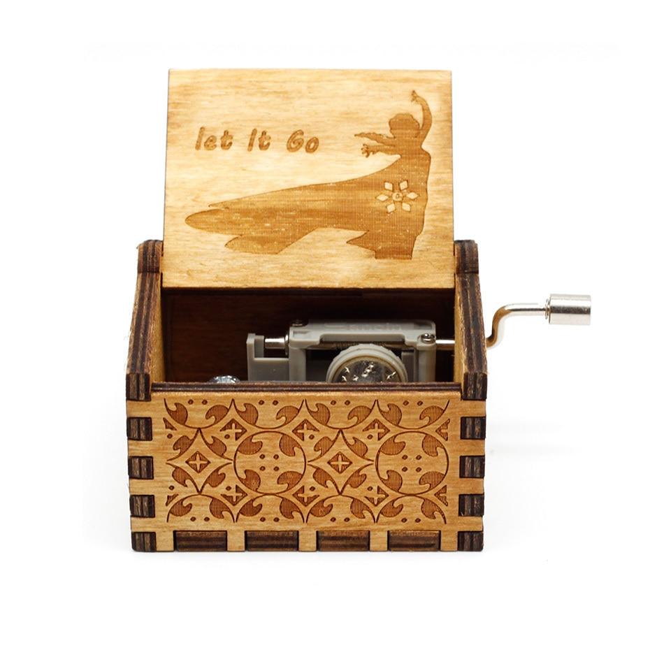 Деревянная музыкальная шкатулка с коленчатым коленом Красавица и Чудовище Звездные войны остров принцесса для Рождества с днем рождения подарок детям подарок - Цвет: let le go