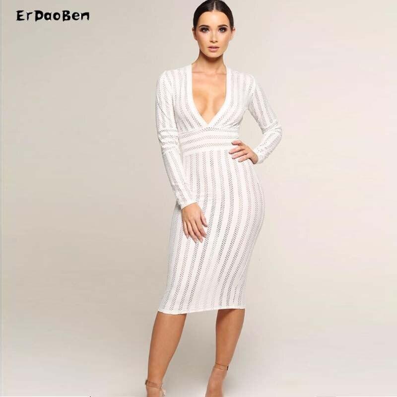 Robe Parti Erdaoben Moulante Femmes Blanc cou Robes H5683 Sexy Bandage V Mxxwzqp8AO