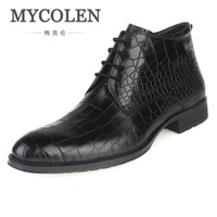 MYCOLEN New Genuine Leather Winter Men's Boots.Ankle Boots Man Military Shoes Stone Pattern Man Footwear Tenis Masculino Adulto