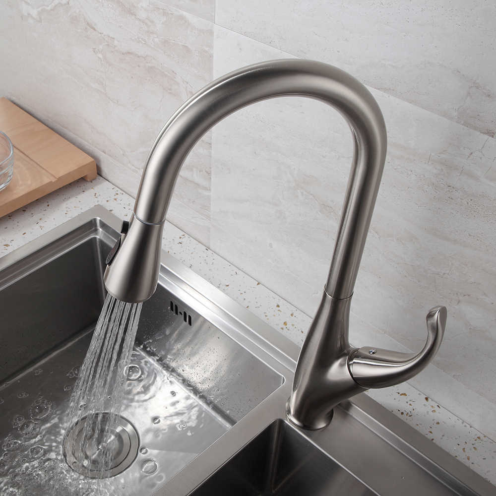 キッチン蛇口シルバーシングルハンドルキッチンタップ単穴ハンドルスイベル 360 度水ミキサータップミキサータップ 866001