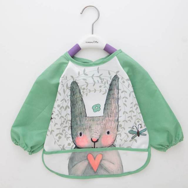 Lovely Baby Bibs Cartoon Animals Waterproof Long Sleeve Apron Bibs Toddler Baby Feeding Smock Burp Clothes Baberos Bavoir