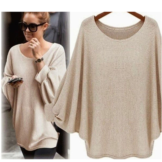 Kenancy 2018 New Women Casual Sweater Knitted Batwing Pullovers Ladies Loose Autumn Outwear Fashion Women'S Jumper Pull Femme