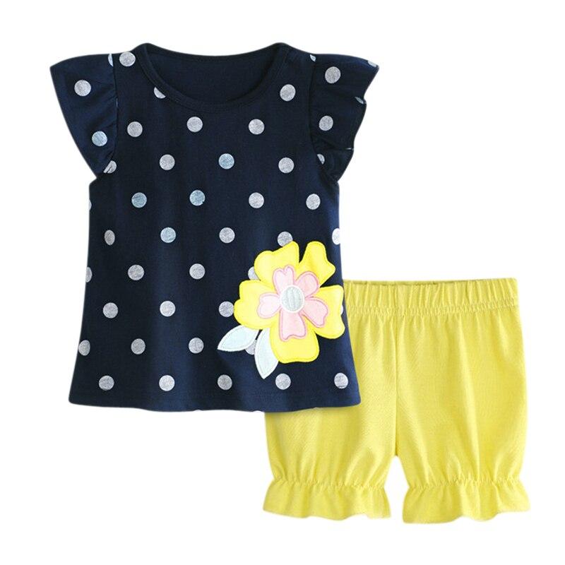 Купить с кэшбэком Summer Rorychen Clothing Children Sets Kids Girls 2Pcs Flower Pattern White Polka Dot Short Sleeves Tops + Solid Color Pants