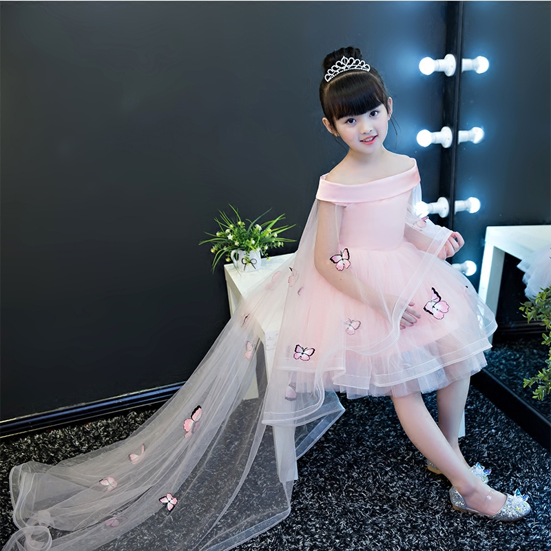 все цены на Kids Mesh Trailing Dresses Girls Shoulderless Appliques Dress Baby First Communion Pageant Wedding Princess Children Dress E153