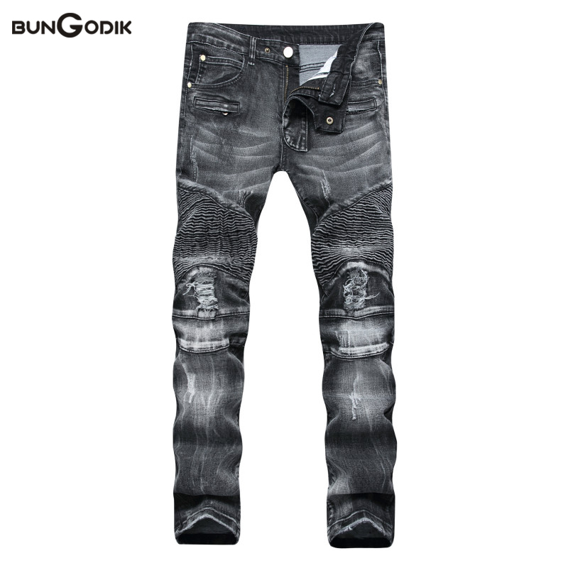 Bungodik Brand Mens Jeans Dark Color Frayed Hole Destroyed Rippe Jeans Men Casual Pants Denim Slim Fit Biker Jeans Hiphop Jeans 2017 new hiphop men hole jogger pants high quality casual destroyed skinny ruched jeans hole casual pants jogger rock jeans