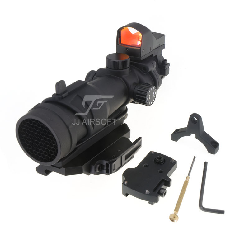 JJ Airsoft ACOG Style 4x32 Scope Red/Green Reticle/Illumination with Mini Red Dot and Killflash,obro Style QD Mount (Black) jj airsoft xps 2 z red green dot qd mount black