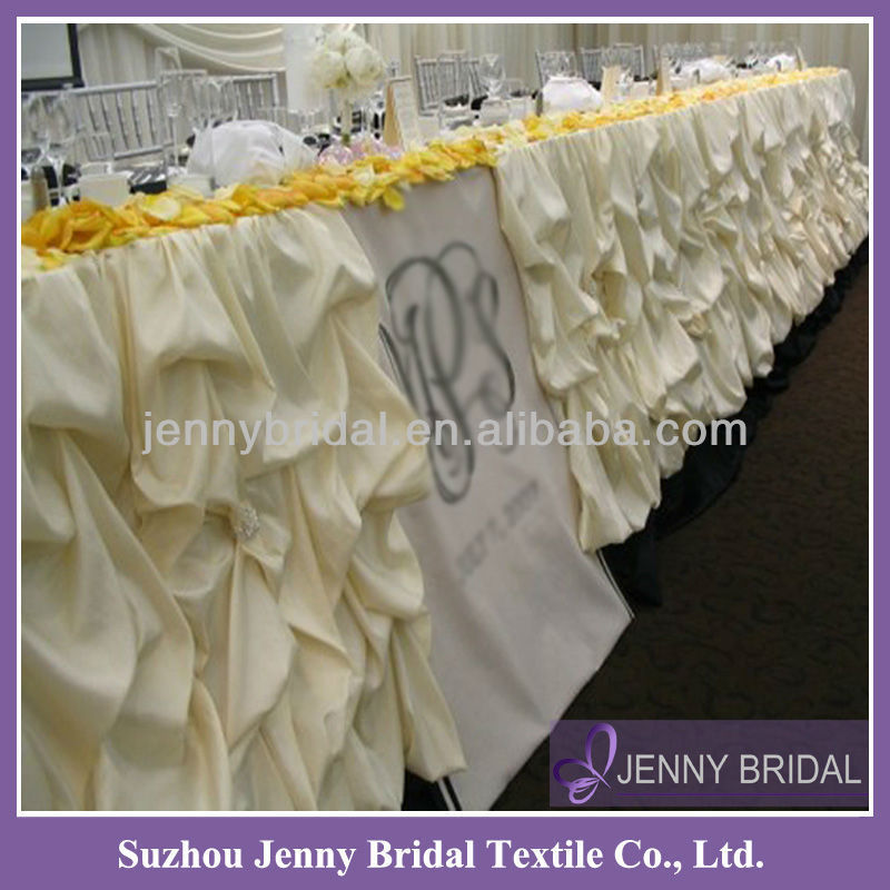 TS001A Puffy Gathered Sheer Ruffled Table Skirts