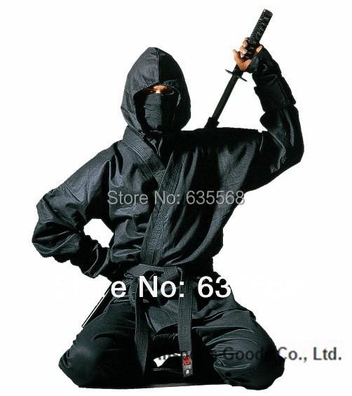 Высокое качество черный костюм ниндзя верхняя часть брюки маска платок часть предплечья не включают обувь ниндзя бесплатная доставка