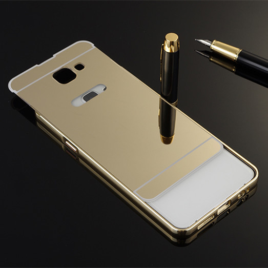 Luxury Gold Mirror Aluminum Case for Samsung Galaxy J1 J3 J5 J7 A3 A5 A7 2016 A510 A310 J510 J710 A710 Metal Frame PC Back Cover