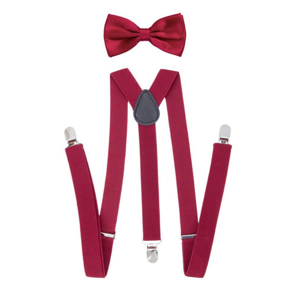 New Fashion Solid Color Unisex Clip-on Elastic Y-Shape Adjustable Suspenders Bowtie Set