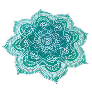 Lotus Flower Table Cloth Yoga Mat India Mandala Tapestry Beach Throw Mat Beach Mat Cover Up Round Beach Pool Home Blanket 2