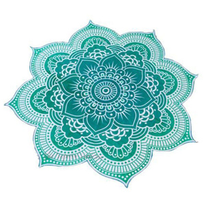 Image 2 - Lotus Flower Table Cloth Yoga Mat India Mandala Tapestry Beach Throw Mat Beach Mat Cover Up Round Beach Pool Home Blanket