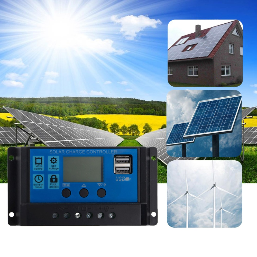 PWM 10/20/30A Dual USB Solar Panel Battery Regulator Charge Controller 12/24V LCD Solar Controllers pwm 10 20 30a dual usb solar panel battery regulator charge controller 12 24v lcd solar controllers m12 dropship