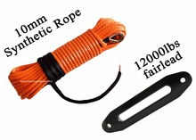 """10 مللي متر * 30 متر البرتقال الاصطناعية حبل رفع إضافة 10 """"الألومنيوم Fairlead ، ATV ونش كابل"""