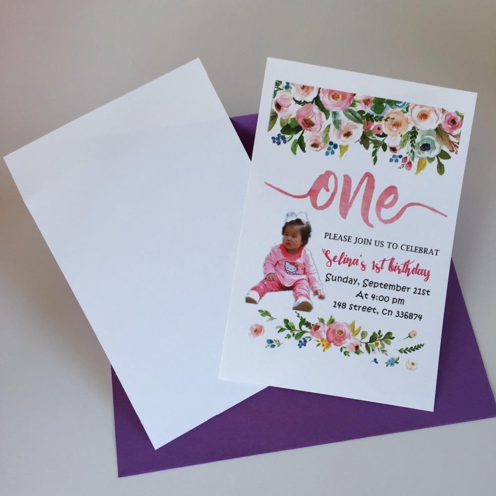 8 Personalized Happy 1st birthday invitation cards invites custom ...