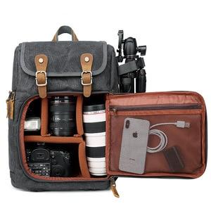 Image 2 - High Capacity Batik Canvas Fabric Photography Bag Outdoor Waterproof Camera Shoulders Backpack for Cannon/Nikon/Sony DSLR SLR