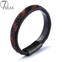 7SEAS 2017 New Fashion Genuine Leather Braided Bracelets Man Party Jewellery Black With Brown Color Weaved