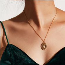 BK  Fashion Gold Mary Pendant Necklaces for Women Chain Girls Mental Trendy Alloy Jewely Gifts Collar