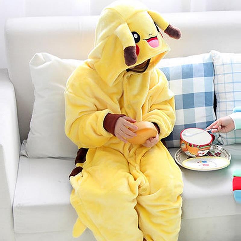 2019 Precipitò Pigiama Pigiama Pikachu 2-11 Anni Di Età Dei Bambini Di Inverno Pigiama Di Flanella 1 Pezzo Vestiti Del Capretto Con Cappuccio Pagliaccetto Degli Indumenti Da Notte Per Garantire Una Trasmissione Uniforme