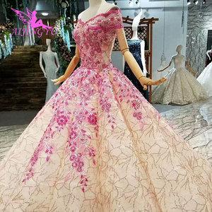 Image 3 - Aijingyu vestidos de noiva informal bonito com mangas couture 2021 2020 bolas na moda gorning vestido de casamento do laço