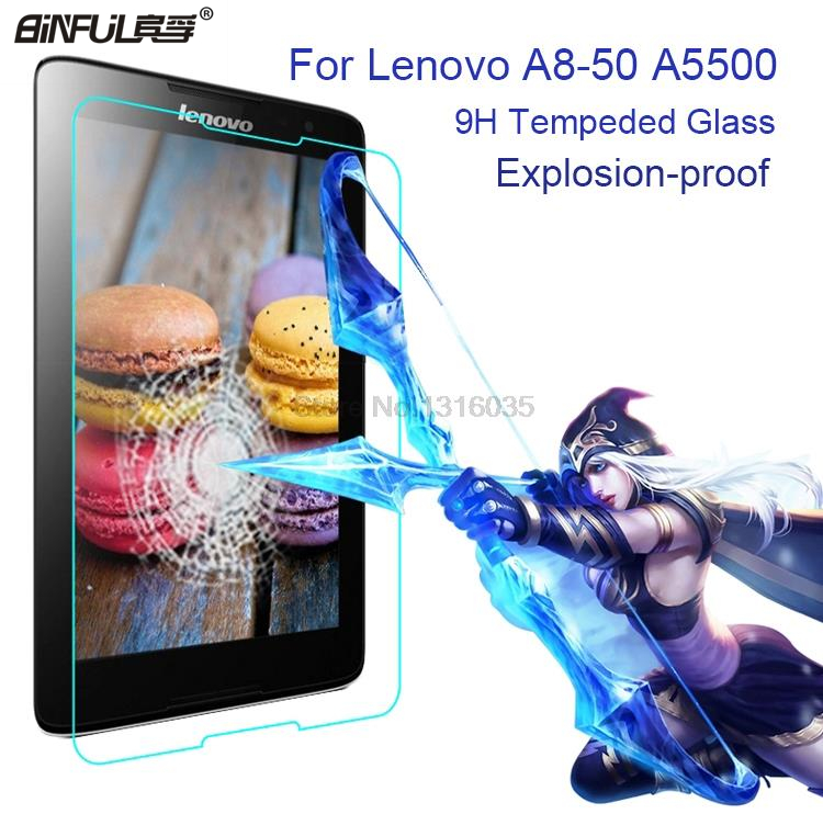 Ζεστό Πώληση BINFUL 0,3 χιλιοστά 9H σκληρότητας Anti-shatter Premium γυαλί για Lenovo A8-50 A5500 8 ιντσών οθόνη προστατευτικό φιλμ