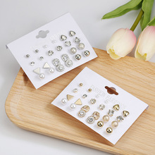 12 Pairs / Set Of Fashion Earrings Crystal Square And Heart Shaped Female Perforated Simulation Pearl Flower