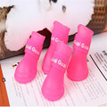 1Set of 4PCS Cute Pet Dog Puppy Rain Snow Boots Shoes Booties Rubber Waterproof Anti-slip Assorted Color