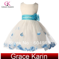 Free Shipping Sleeveless Princess Flower Girls Dresses for Wedding Pageant Party Dress 10 Size 2~12 Years CL4607