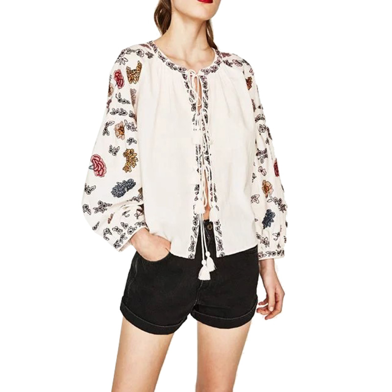 Womens White Ethnic Flower Embroidery Jacket 2017 Lantern Sleeve Belt Design Kimono Cardigan Coat For Women Sunscreen Femme