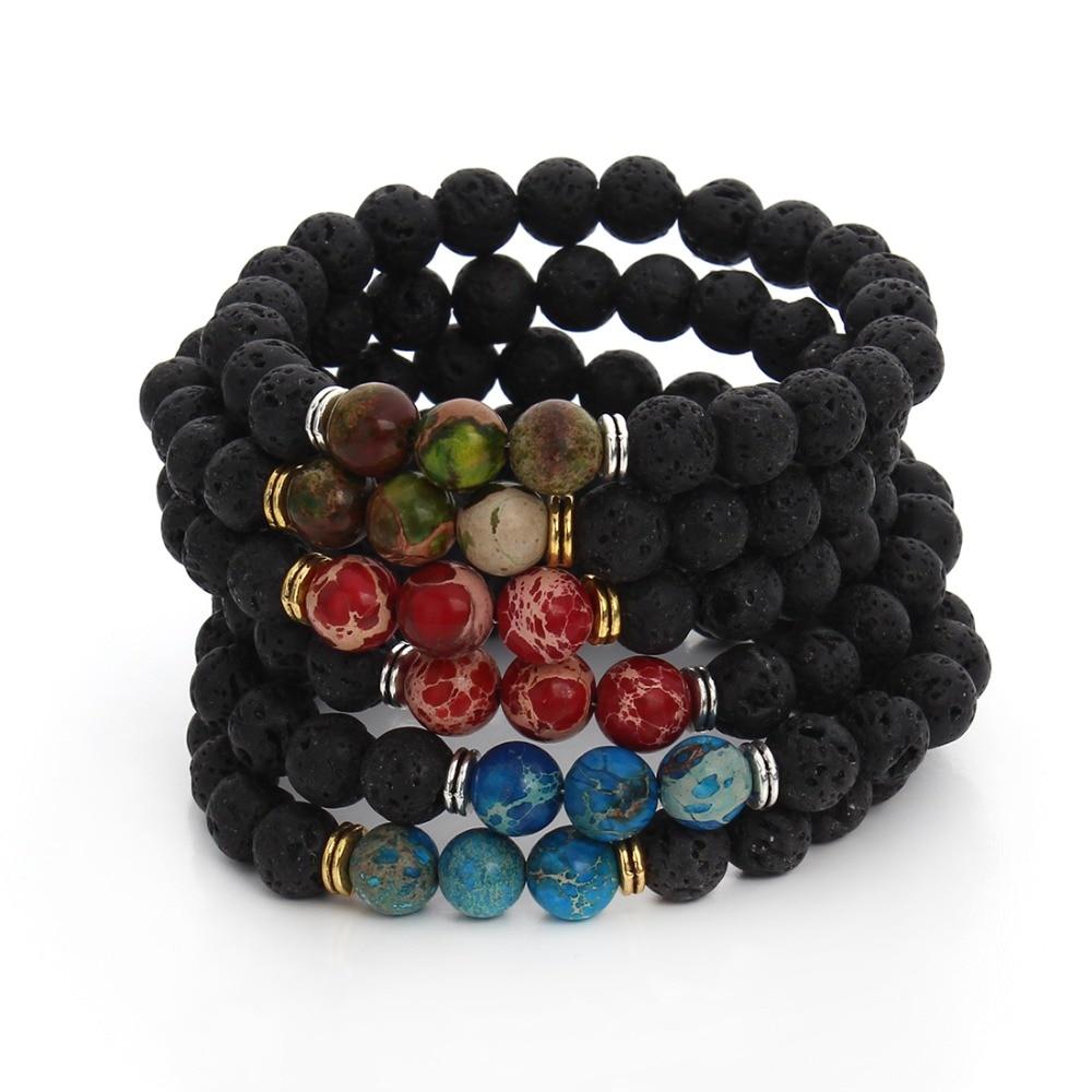 2016 Hommes Bracelets Lava Chakra Guérison Équilibre Perles Bracelet Strass Reiki Pierres De Prière Pulseras 8mm Bracelet Femme F3232