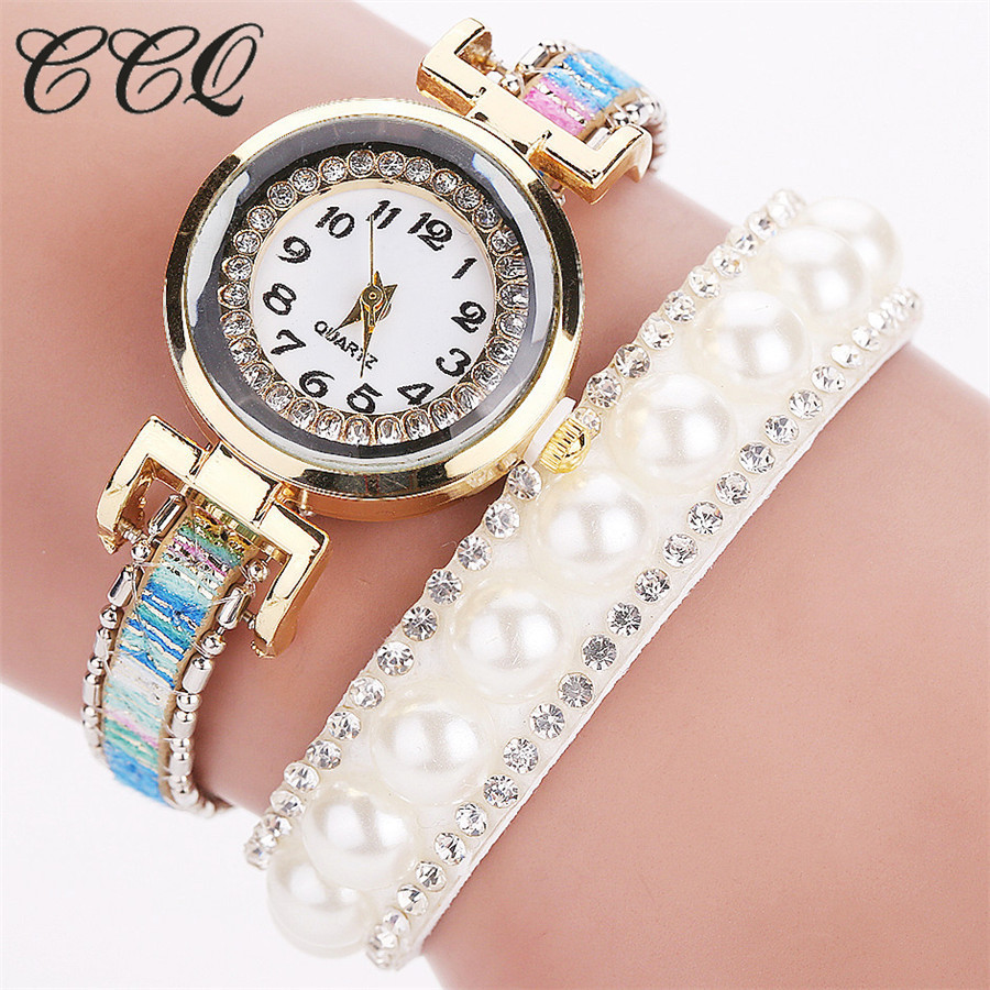 2017 New CCQ New Popular Gold Pearl Jewelry Watches Classic