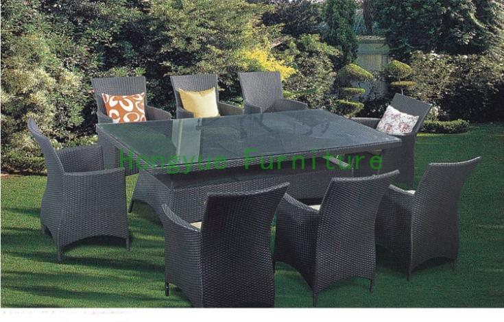 Grey color patio rattan dining furniture supplier
