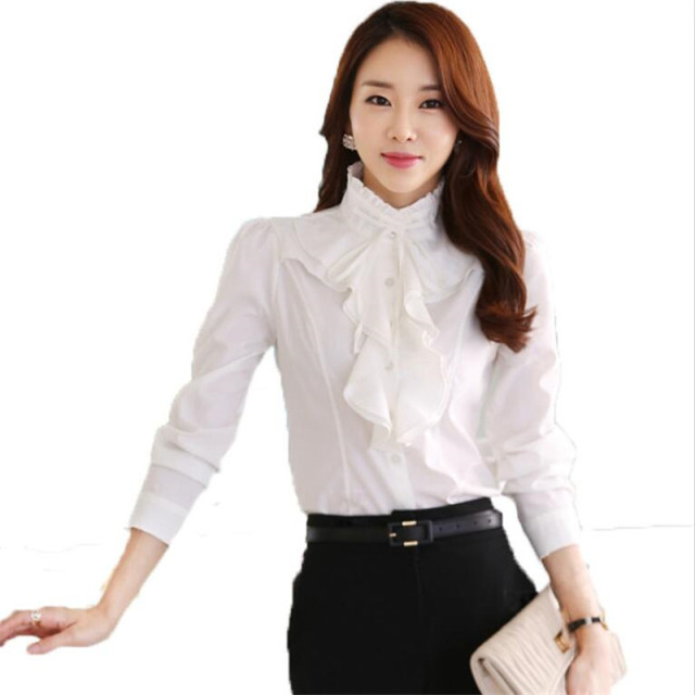 15a1f87f220b2 Ruffles Lady White Shirts Formal Work Blouse Plus Size S 5xl Korean