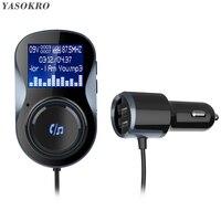 Kit vivavoce compatibile Bluetooth per auto trasmettitore FM modulatore supporto TF Card MP3 Play Car Audio Adapter caricatore per auto doppio USB