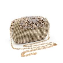 Milisente Women Rhinestone Handbag Studded Flower Evening Diamond Bags Lady Wedding Party Clutches Purse Silver Gold Black Small