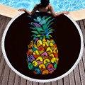 Летний ананас суккулентные растения Печать круглое пляжное полотенце с бахромой гобелен плюшевый коврик для йоги пикник для банного полот...