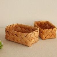 כיכר יפני יומן עץ סל אחסון סל האריגה לחם מטבח סל סל picnc orgiainzer