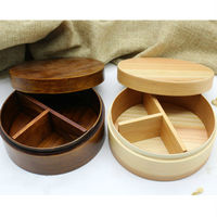 Japan style natural wooden fruit box food box lunch boxes student lunch box round lunch box