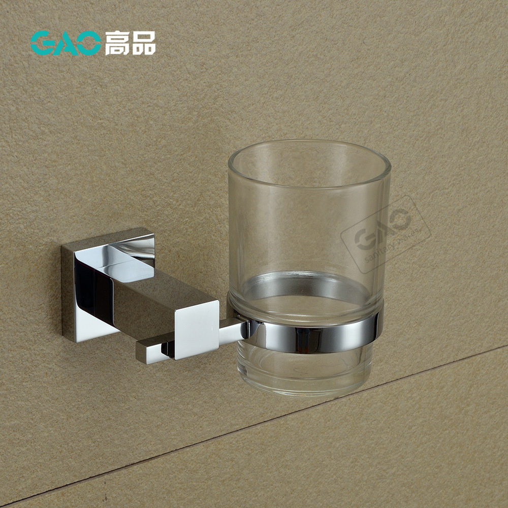 цены  Free Shipping Single Tumbler Holder,Toothbrush Cup Holder , Brass Base With Chrome Finish & Glass Cup,Bathroom Accessories