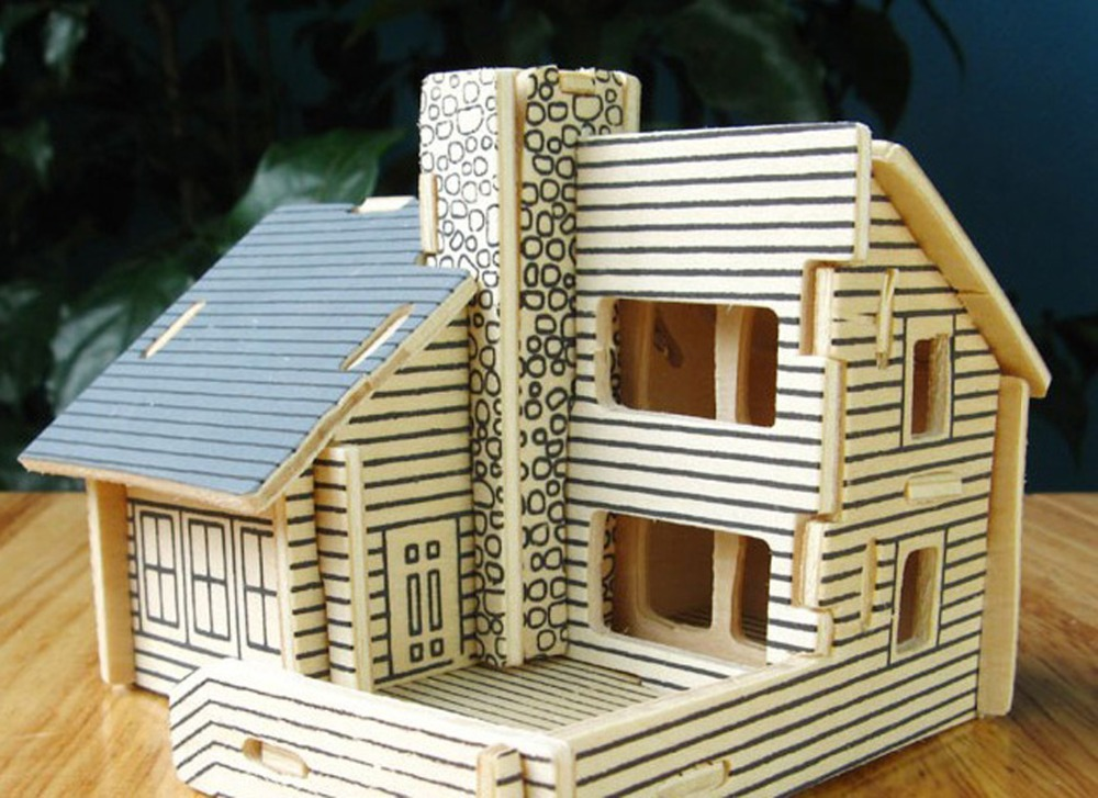 3d Puzzle Model Building Wooden House Diy White Cabin Kid
