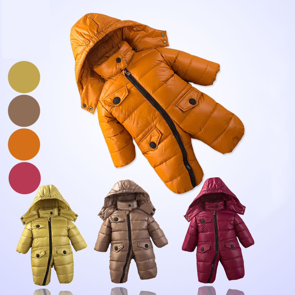 Winter Baby Boy Down Jumpsuit Newborn Girl Hooded Snowsuit Clothing Infant Thick Warm Outwear Down Coat New Baby Clothes winter baby snowsuit baby boys girls rompers infant jumpsuit toddler hooded clothes thicken down coat outwear coverall snow wear