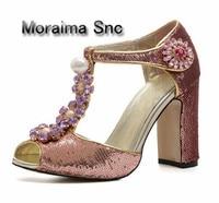Moraima SNC бренд великолепные вечерние обувь блестящие пикантные туфли с открытым носком Дамская обувь роскошные декор стразами дамские босон