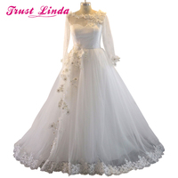 2015 Fall Winter Romantic Wedding Dresses Ball Gown Long Sleeve See Through Back Wedding Gowns Handmade
