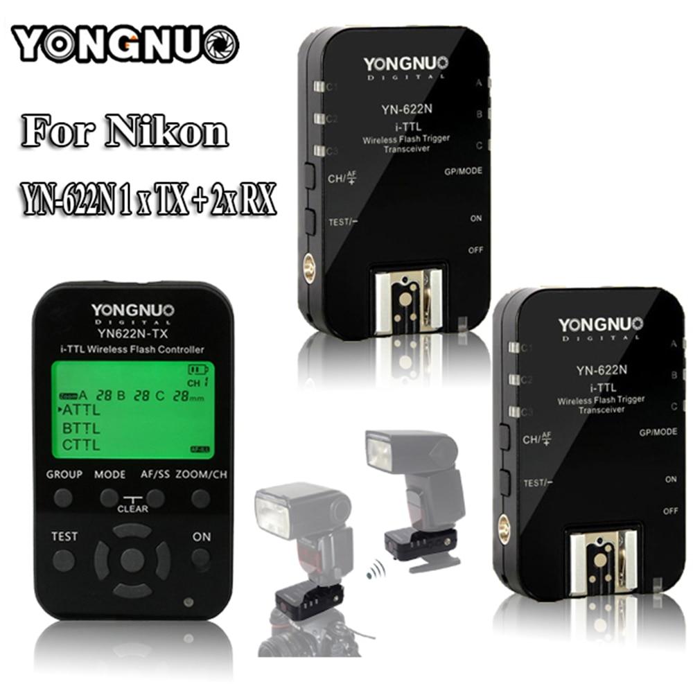 YONGNUO YN622N YN-622N YN622N-KIT 622N-TX Wireless TTL HSS Flash Trigger Set Transmitter x1+2x Transceiver Receiver For Nikon yongnuo yn622n tx transmitter controller yn 622n transceiver yn622n kit wireless ttl hss 1 8000 flash trigger for nikon